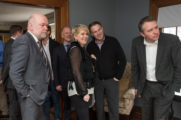 Desi Smith /Gloucester Daily Times.    Icelandic Minister of Industry and Commerce, Ragnheiour Elin Arnadottir (center) along with other US Embassy members take a look around the inside of the Innovation House Saturday afternoon at a reception hosted by US Embassy in Iceland and Innovation House on Norman Ave in Magnolia.    March 15,2014.