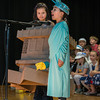 "DESI SMITH/Staff photo.   Lady Liberty Ava Paone, (right) has total support from Caydence Fritz, as they act out their parts a in musical play, ""American Symbols,"" performed by all the first graders at West Parish School on Friday morning.<br />  May 23,2014"