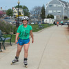 DESI SMITH/Staff photo.     Abagail Bresley formerly of Ipswich, but now living with family in Gloucester, rollerblades down Stacey Boulavard Thursday afternoon listening to her ipod.  May 15,2014