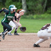 DESI SMITH/Staff photo.   Manchester Essex's Sam Woodman takes off from second base on a hit against Haverhill Friday afternoon at Sweeney Park in Manchester.<br />  May 23,2014