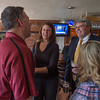 DESI SMITH/Staff photo.   Jim Duggan (right) and his wife Lanette (left) talks with wellwishers at a farewell party held for him Friday afternoon at Giuseppe's restaurant, on Main St  Duggan, the city's longtime chief administrative officer is leaving to become a town manager in Dracut .  May 2,2014