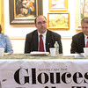 DESI SMITH/Staff photo.    Candidates, Erin Battistelli, Jonathan Ring and Paul Murphy, listen to Ray Lamont, editor of the Gloucester Times, read one of the questions at at debate hosted by the Times,Thursady night at the Rockport Art Association in Rockport. May 1,2014