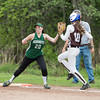 DESI SMITH/Staff photo.   Manchester Essex's first basemen Bailey Graves touches the bag for the out against Haverhill Friday afternoon at Sweeney Park in Manchester.<br />  May 23,2014