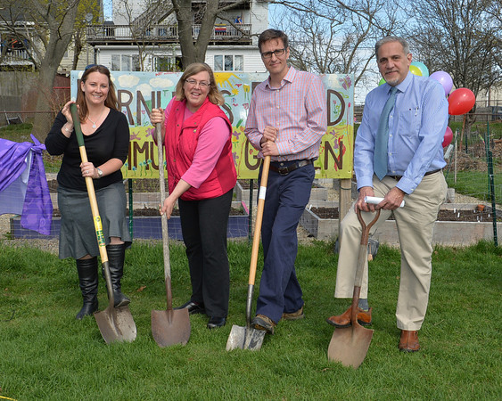 DESI SMITH/Staff photo.   From left to right, City Councilor Melissa Cox, Mayor Carolyn Kirk, John McElhenny and Barry Pett, all spoke at the official groundbreaking held Saturday morning at Burnham's Field.  May 3,2014