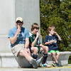 DESI SMITH/Staff photo.   Dad Torin Taylor of Manchester, and his boys Ernist 11, and Nils 6, enjoy some icecream from Capt Dusty's Saturday afternoon at Masconomo Park.<br />  May 17,2014