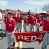 DESI SMITH/Staff photo.    Last years Major B Champs show of their trophy as the team make they way to Boudreau Field along Western Ave Saturday morning in the Gloucester Little League Parade  May 3,2014