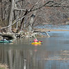 DESI SMITH/Staff photo.  Two wowan tour around in their kayaks on the river just off Concord St and Essex Ave Friday afternoon, enjoying some over due warm weather.  May 2,2014