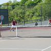 DESI SMITH/Staff photo.   Gloucester's Dan wood (left) returns the ball cross court for a point as teammate Matt Ciaramitaro looks on, in a doubles match against Somerville Thursaday afternoon in the Div. 2 North First Round doubles, at Gloucester High School. May 29,2014