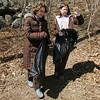 Rockport: Chelsea Tarr, 15, and Conor Deedy, 13, walk out from the woods behind Evans Field while helping to pick up trash Wednesday afternoon. The YMCA Ben Beyea Youth & Teen Center hosted a Teen Community Clean Up around the Evans Field area to get ready for spring. Mary Muckenhoupt/Gloucester Daily Times