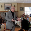 Gloucester:  Michael Barretti, Director for the Institute of Executive Edecation at Suffolk University, makes a presentation during the Weathering the Storm breakfast at The Gloucester House Thursday morning.  Mary Muckenhoupt/Gloucester Daily Times