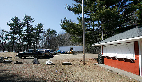 Essex: Crews begin to set up for filming of a movie starring Adam Sandler at Centennial Grove in Essex. Many activities, such as summer camp and little league, will need to be relocated. Photo by Kate Glass/Gloucester Daily Times Wednesday, March 18, 2009