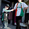 Gloucester: Christopher McCollum Jr., 10, of Gloucester learns a few Irish dance steps from Rory O'Connor of Dublin on Main Street yesterday afternoon. O'Connor had Irish music playing all afternoon and McCollum danced with him for two hours. Photo by Kate Glass/Gloucester Daily Times Tuesday, March 17, 2009