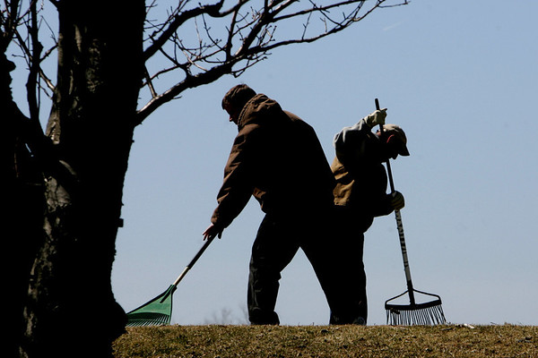 Essex: Ground crew work to clean up the Cape Ann Golf Course to get ready for the spring golf season Wednesday afternoon. Mary Muckenhoupt/Gloucester Daily Times