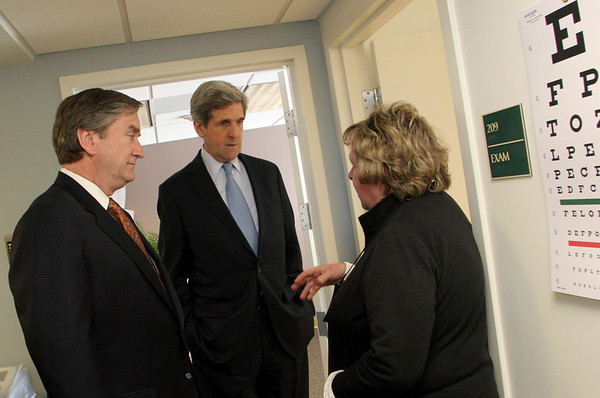 Gloucester: Gloria Riley, chief operations officer for North Shore Community Health Inc., shows Sen. John Kerry and Congressman John Tierny some exam rooms while touring the new Gloucester Community Health Center Saturday afternoon. Mary Muckenhoupt/Gloucester Daily Times