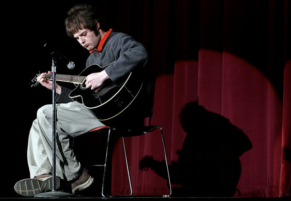 Gloucester: Travis Landes performs an acoustic piece during the Gloucester High School Talent Show on Thursday night. The show runs Thursday and Friday at 7 p.m. Photo by Kate Glass/Gloucester Daily Times Thursday, March 19, 2009