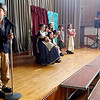 "Gloucester: Jared Gillman looks for his cue to start as Plum Cove Elementary School third and fourth grade students rehearse a scene from ""Annie: A Musical Revue."" They will be performing the show tonight and tomorrow night at 7 pm in the Plum Cove Auditorium. Tickets are $4, $3 for students and seniors. Photo by Kate Glass/Gloucester Daily Times Tuesday, March 31, 2009"
