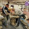 Gloucester: Phil Palminteri, left, and Jeremiah Caulkett put together a granite fountain for landscape designer Martin Ray in preparation Home and Garden Show.  The Home and Garden show will be held today from 10 a.m. to 4 p.m. at Gloucester High School. Mary Muckenhoupt/Gloucester Daily Times
