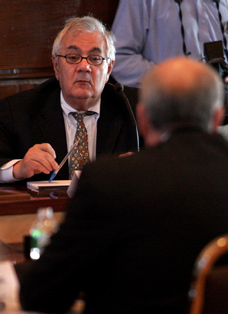 Gloucester: Congressman Barney Frank questions Inspector General Todd Zinser at a hearing of the U.S. House Oversight and Government Reform Domestic Policy Subcommitee at Gloucester City Hall yesterday focusing on fisheries enforcement practices. Photo by Kate Glass/Gloucester Daily Times