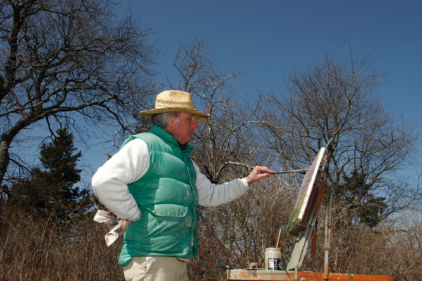 Essex: Jim Clyde of Essex works on a painting of a lanscape scene at the Cox Reservation as part of a painting class given by David Curtis of Gloucester Saturday afternoon.  Mary Muckenhoupt/Gloucester Daily Times