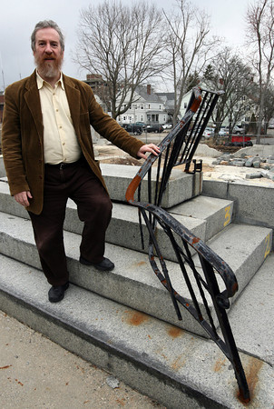 Gloucester: Rabbi Samuel Barth of Temple Ahavat Achim stands at the former main entrance to the temple, which was destroyed in the Middle Street Fire of 2007. The temple will be breaking ground on its new building on April 18th. Photo by Kate Glass/Gloucester Daily Times