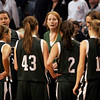 Boston: Manchester Essex Coach Lauren DuBois brings the team in for one last huddle during their 50-40 loss to Cohassett in the MIAA Division 4 State Finals at the TDGarden in Boston yesterday. Photo by Kate Glass/Gloucester Daily Times