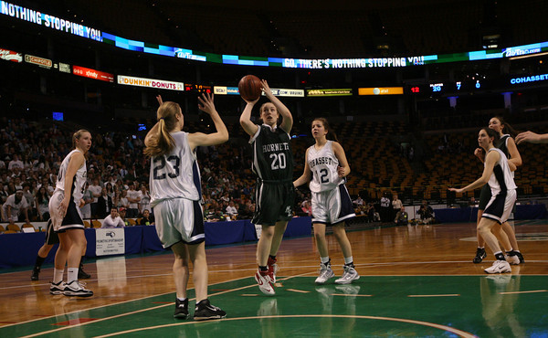 Boston: Manchester Essex's Abbi Biggar takes a shot in the MIAA Division 4 State Finals at the TDGarden in Boston yesterday. Photo by Kate Glass/Gloucester Daily Times