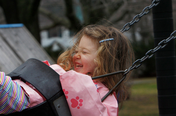Manchester: Rebecca Briggs, 4, of Essex giggles as she gets a big push from her mom while playing on the swings at Masoconomo Park Wednesday afternoon. Rebecca enjoyed getting some fresh air with her sister Alex, 6, after being cooped up in the rain for the past few days. Sunshine and warm temperatures are expected through the weekend. Mary Muckenhoupt/Gloucester Daily Times