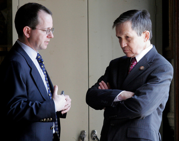 Gloucester: Chairman Dennis Kucinich is briefed by committee council before attending the hearing of the U.S. House Oversight and Government Reform Domestic Policy Subcommitee at Gloucester City Hall yesterday focusing on fisheries enforcement practices. Photo by Kate Glass/Gloucester Daily Times