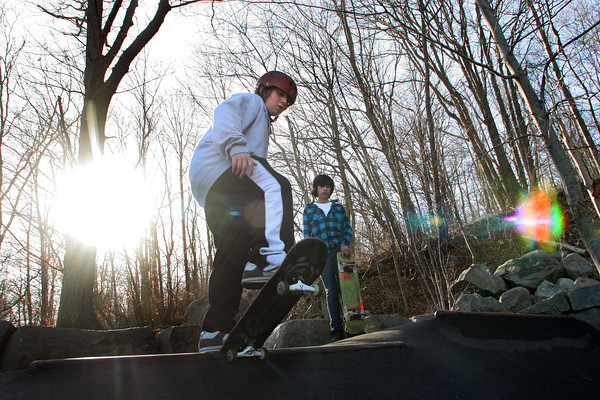 Rockport: Anthony King, 11, of Rockport skates at the Matt Waddell Skate Park behind the YMCA Ben Beyae Teen Center Wednesday afternoon with his friends. Standing behind King is JeanPaul Rivera.  Mary Muckenhoupt/Gloucester Daily Times