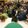 Gloucester: Students cheer on their classmates as they participate in the O'Maley Middle School March Madness pie-eating contest on Wednesday. Photo by Kate Glass/Gloucester Daily Times