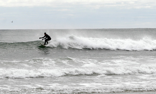 Gloucester: A surfer catches some waves at Good Harbor Beach yesterday afternoon. Photo by Kate Glass/Gloucester Daily Times