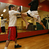 Gloucester: Pedro Gonzalez trains with his brother, Christian Rivera, as he prepares for the Bantam Weight Title Match in the Global Fight League, which will be held in Nashua, N.H. on Saturday. Photo by Kate Glass/Gloucester Daily Times
