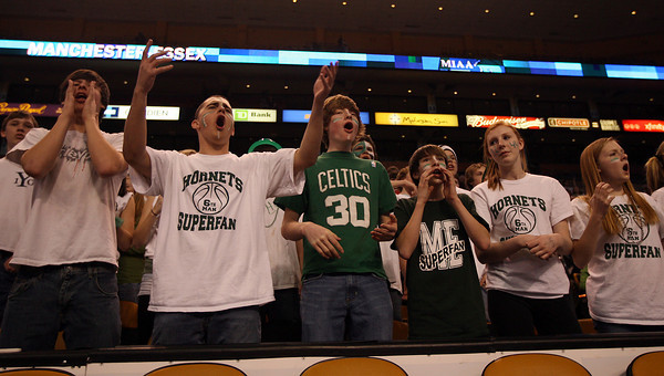 Boston: Hornets fans disagree with a call during the MIAA Division 4 State Finals at the TDGarden in Boston yesterday. Photo by Kate Glass/Gloucester Daily Times