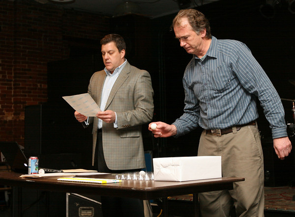 Gloucester: Marcus Monell, right, draws the first number in the lottery for spaces in the new charter school at the Blackburn Arts Center yesterday afternoon as Interim Executive Director Matt Gallup reads the prospective students name. Photo by Kate Glass/Gloucester Daily Times
