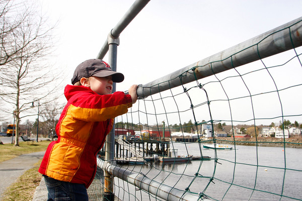 Gloucester: Colin Fidler, 2, looks at the ducks at Manchester Harbor by Masconomo Park Thursday morning.  Colin's mom says that coming to see at the ducks is one of Colin's favorite things to do all year long. Mary Muckenhoupt/Gloucester Daily Times