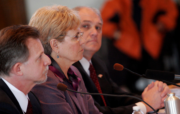 Gloucester: Todd Zinser, Federal Inspector General, Jane Lubchenco, Head of NOAA, and Dale Jones, NOAA Director of Law Enforcement, appear at Gloucester City Hall to testify at a hearing of the U.S. House Oversight and Government Reform Domestic Policy Subcommitee yesterday focusing on fisheries enforcement practices. Photo by Kate Glass/Gloucester Daily Times