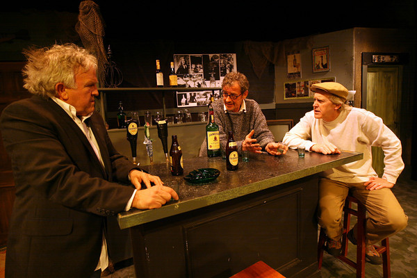 "Gloucester: Michael McNamara, Rory O'Conner, and David McCaleb rehearse a scene from ""The Weir"" by Conor McPherson. The play, produced by the Cape Ann Theatre Collaborative, will be at Gloucester Stage March 19-21, and March 26-28. Photo by Kate Glass/Gloucester Daily Times"
