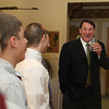 Gloucester: Former Bruins player Mike Milbury talks some players on the Rockport hockey team at the Rockport High School hockey banquet held at the Gloucester House Wednesday night. Mary Muckenhoupt/Gloucester Daily Times