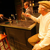 "Gloucester: Michael McNamara, Rory O'Conner, and David McCaleb raise a glass as they rehearse a scene from ""The Weir"" by Conor McPherson. The play, produced by the Cape Ann Theatre Collaborative, will be at Gloucester Stage March 19-21, and March 26-28. Photo by Kate Glass/Gloucester Daily Times"