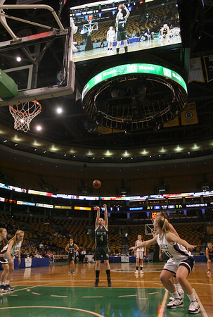 Boston: The Manchester Essex's Julia Martz shoots a free throw against Cohasset in the MIAA Division 4 State Finals at the TDGarden in Boston yesterday. Photo by Kate Glass/Gloucester Daily Times