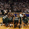 Boston: The Manchester Essex Hornets huddle together in front of hundreds of fans at the start of the MIAA Division 4 State Finals against Cohasset at the TDGarden in Boston yesterday. Photo by Kate Glass/Gloucester Daily Times