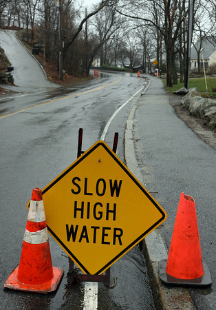 Rockport: A portion of Granite Street was reduced to one lane due to flooding yesterday. Photo by Kate Glass/Gloucester Daily Times