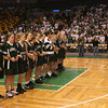 Boston: The Manchester Essex Hornets link arms as the national anthem is sung prior to the MIAA Division 4 State Finals at the TDGarden in Boston yesterday. Photo by Kate Glass/Gloucester Daily Times