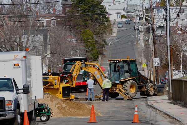 Gloucester: Centennial Avenue was closed yesterday due to a water main break. Mary Muckenhoupt/Gloucester Daily Times