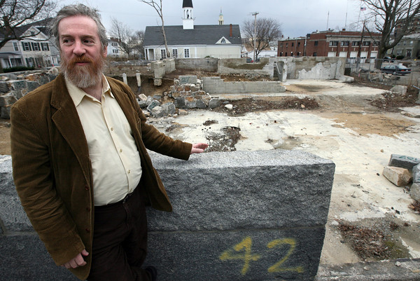Gloucester: Rabbi Samuel Barth of Temple Ahavat Achim stands at the former site of the temple, which was destroyed by fire in 2007. The temple will rebuild on the site and invites the community to a groundbreaking ceremony on April 18th. Photo by Kate Glass/Gloucester Daily Times