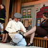 "Gloucester: Austin Church as Butch shines the shoes of Shania Pacheco as Ms. Davis while rehearsing a scene from Beeman Memorial School's play, ""The Castaways,"" which will be performed tonight and tomorrow night at 7.  Tickets are $5 plus one donation of a non-perishable food item for Open Door. Photo by Kate Glass/Gloucester Daily Times"