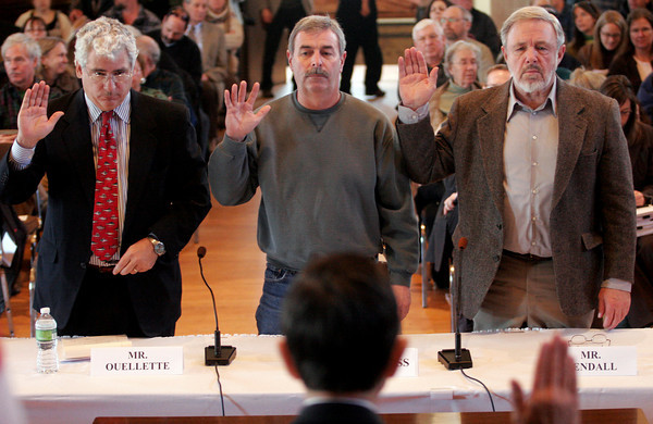 Gloucester: Steve Ouellette, Richard Burgess, and Jim Kendall are sworn in by Chairman Dennis Kucinich as they appear at Gloucester City Hall to testify at a hearing of the U.S. House Oversight and Government Reform Domestic Policy Subcommitee yesterday focusing on fisheries enforcement practices. Photo by Kate Glass/Gloucester Daily Times