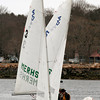 Manchester: Manchester Essex's Natalie Warren adjusts the jib sail as she and Connor Winn prepare for their race against B.C. High yesterday. Photo by Kate Glass/Gloucester Daily Times