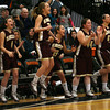 The Gloucester bench cheers as Hannah Cain sinks a free throw for the final point in their 66-62 win over Reading during the MIAA Division 2 North Semi-Finals at Woburn High School last night. Photo by Kate Glass/Gloucester Daily Times