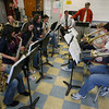 "Gloucester: The Gloucester High School jazz band, the Docksiders, rehearse for their ""Tencennial"" concert, which will be held Saturday at 7 p.m. in the Fuller School Auditorium. The concert, which celebrates the band's 10 years, will feature dozens of alumni in addition to the current band. Photo by Kate Glass/Gloucester Daily Times"
